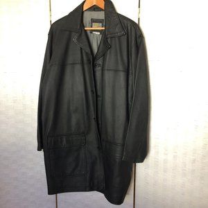 Genuine Leather Black Car Coat